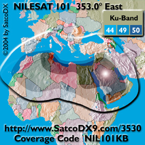 Nilesat 102: Middle East footprint map